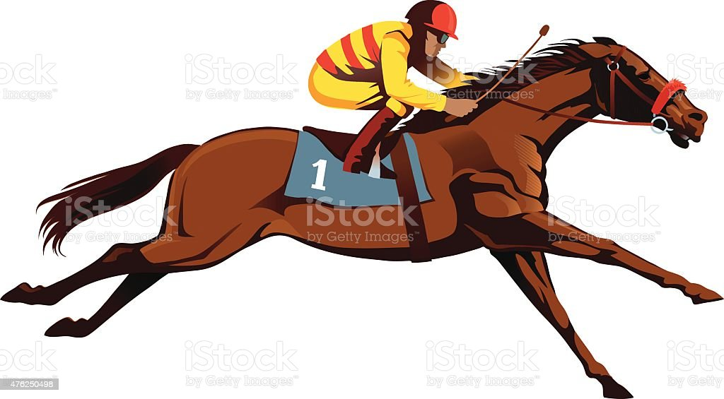 royalty free thoroughbred race horse clip art vector images rh istockphoto com racehorse with jockey clipart race horse clip art free